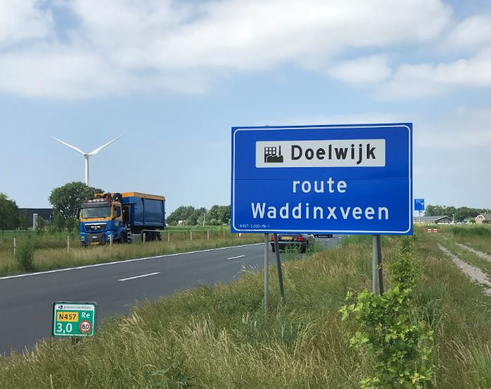 Doelwijk, distripark, route, bord